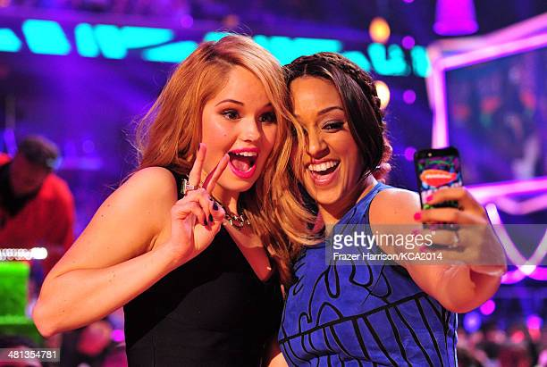 Actresses Debby Ryan and Tia MowryHardrict take a selfie during Nickelodeon's 27th Annual Kids' Choice Awards held at USC Galen Center on March 29...