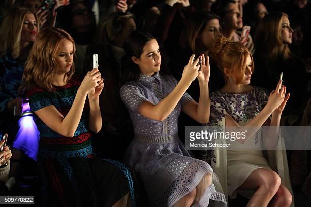 Actresses Debby Ryan Bailee Madison and Katherine McNamara attend the Tadashi Shoji Fall 2016 fashion show during New York Fashion Week The Shows at...