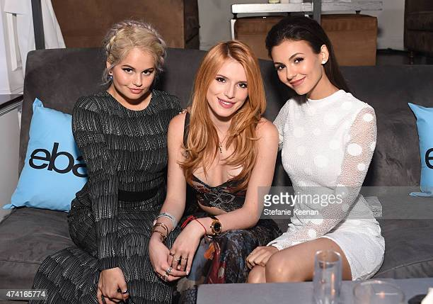 Actresses Debby Ryan Bella Thorne and Victoria Justice attend the 6th annual ELLE Women In Music celebration presented By eBay Hosted by Robbie Myers...