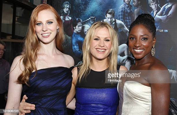 "Actresses Deborah Ann Woll, Anna Paquin and Rutina Wesley arrive at HBO's ""True Blood"" Season 3 premiere held at ArcLight Cinemas Cinerama Dome on..."
