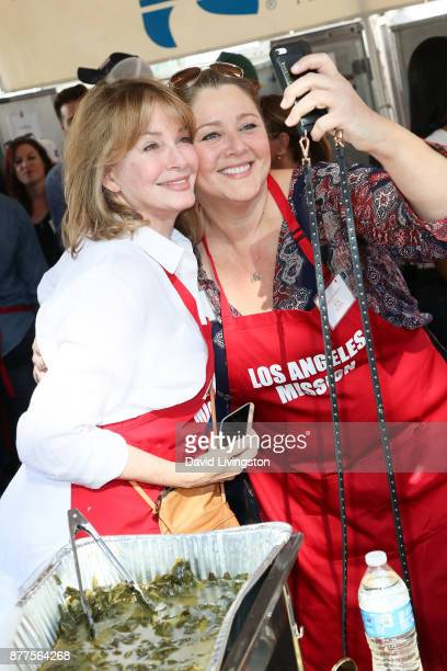 Actresses Deidre Hall and Camryn Manheim are seen at the Los Angeles Mission Thanksgiving Meal for the homeless at the Los Angeles Mission on...