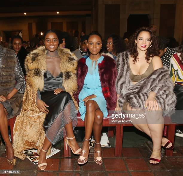 Actresses Denee Benton Ashleigh Murray and Dascha Polanco attend the Dennis Basso fashion show at St Bartholomew's Church on February 12 2018 in New...