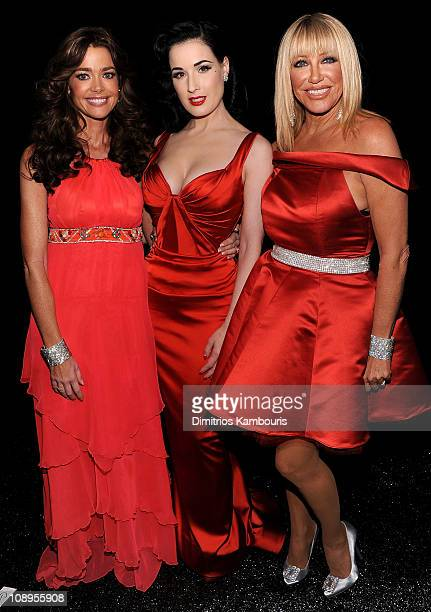 Actresses Denise Richards Dita Von Teese and Suzanne Somers attend the Heart Truth's Red Dress Collection 2011 during MecerdesBenz fashion week at...