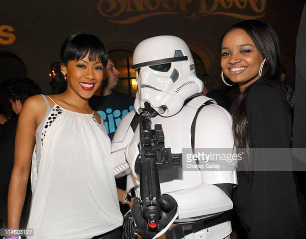 Actresses Denyce Lawton and Kyla Pratt attend the adidas Snoop Dogg 'More Malice' Deluxe Album And Mini Movie Celebration at The Roosevelt Hotel on...