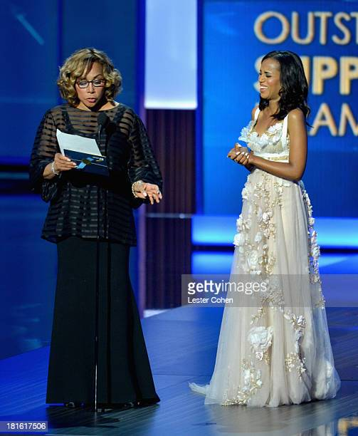 Actresses Diahann Carroll and Kerry Washington appear onstage during the 65th Annual Primetime Emmy Awards held at Nokia Theatre LA Live on September...