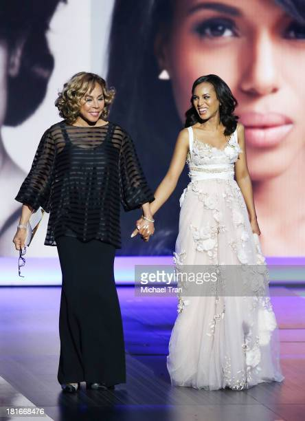 Actresses Diahann Carroll and Kerry Washington walk onstage during the 65th Annual Primetime Emmy Awards held at Nokia Theatre LA Live on September...