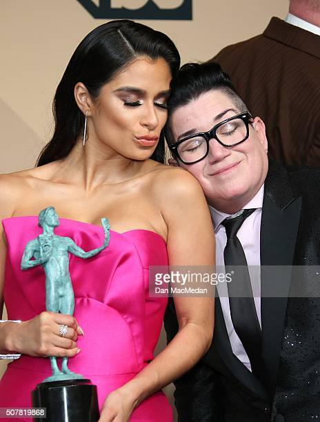 Actresses Diane Guerrero and Emma Myles winners of the Outstanding Performance by an Ensemble in a Comedy Series award for 'Orange is the New Black'...