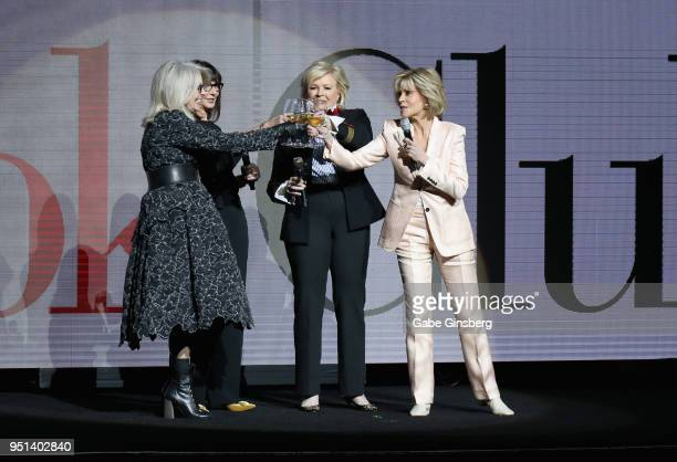 Actresses Diane Keaton Mary Steenburgen Candice Bergen and Jane Fonda toast each other during the CinemaCon 2018 Paramount Pictures Presentation...