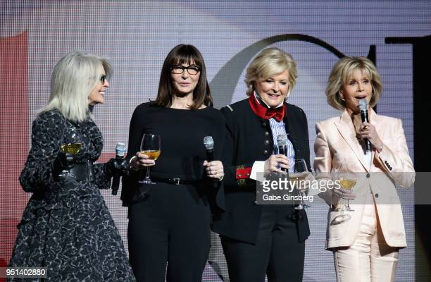 Actresses Diane Keaton Mary Steenburgen Candice Bergen and Jane Fonda speak during the CinemaCon 2018 Paramount Pictures Presentation Highlighting...