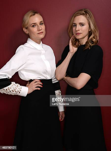 Actresses Diane Kruger and Brit Marling pose for a portrait during the 2014 Sundance Film Festival at the WireImage Portrait Studio at the Village At...