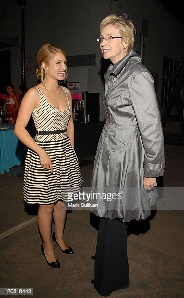 Actresses Dianna Agron and Jane Lynch attend the 'Glee' Los Angeles Premiere Screening And Post Party at the Willow School on September 8 2009 in...