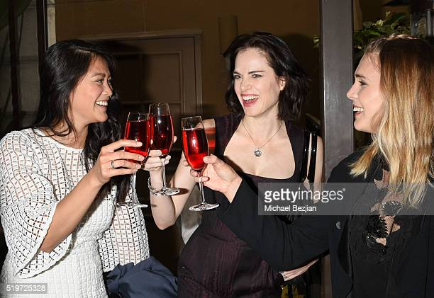 Actresses Dianne Doan Amy Bailey and Gaia Weiss at Empowered Brunch With Cindy Cowan at Four Seasons Hotel Los Angeles at Beverly Hills on April 7...