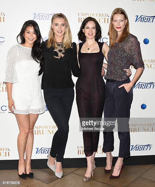 Actresses Dianne Doan Gaia Weiss Amy Bailey and Alyssa Sutherland arrive at Empowered Brunch With Cindy Cowan at Four Seasons Hotel Los Angeles at...