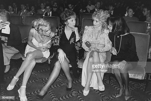 Actresses Dolly Parton Sally Field Shirley MacLaine and Daryl Hannah at the premiere of their motion picture Steel Magnolias