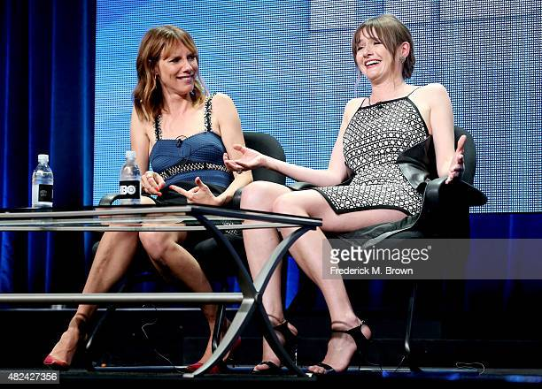 Actresses Dolly Wells and Emily Mortimer speak onstage during the 'Doll & Em' panel discussion at the HBO portion of the 2015 Summer TCA Tour at The...
