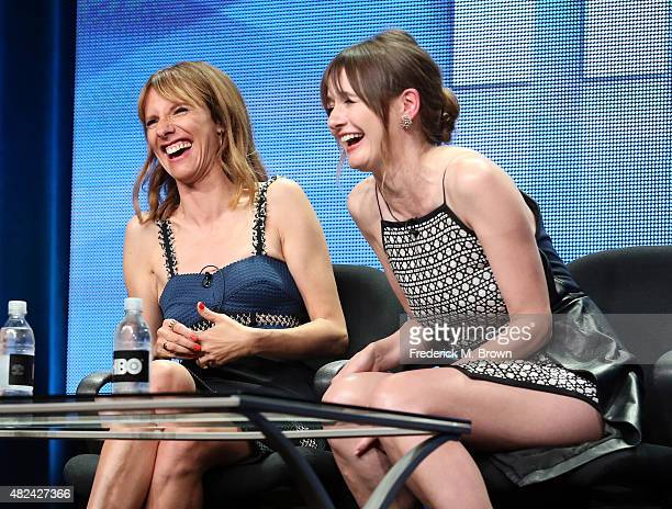 Actresses Dolly Wells and Emily Mortimer speak onstage during the 'Doll Em' panel discussion at the HBO portion of the 2015 Summer TCA Tour at The...