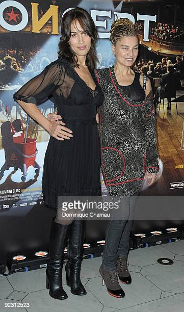 Actresses Dolores Chaplin and Elli Medeiros attend the premiere of ''Le Concert'' at the Theatre du Chatelet on October 23 2009 in Paris France