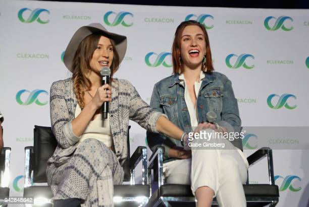 Actresses Dominique ProvostChalkley and Katherine Barrell speak at the Wynonna Earp panel during the ClexaCon 2018 convention at the Tropicana Las...