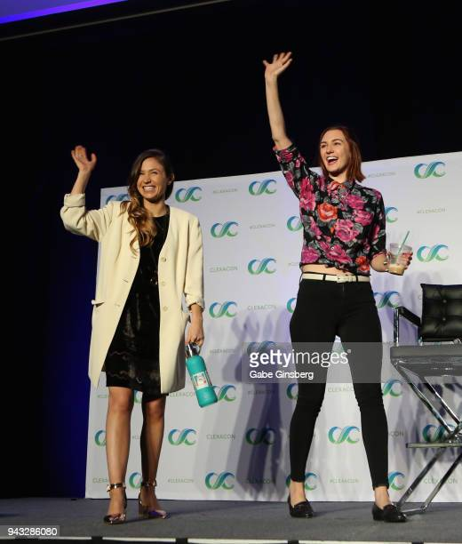 Actresses Dominique ProvostChalkley and Katherine Barrell speak at the WayHaught panel during the ClexaCon 2018 convention at the Tropicana Las Vegas...