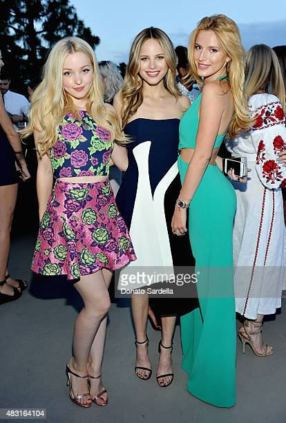 Actresses Dove Cameron Halston Sage and Bella Thorne attend Teen Vogue x Simon BTSS Kickoff Dinner on August 5 2015 in Los Angeles California