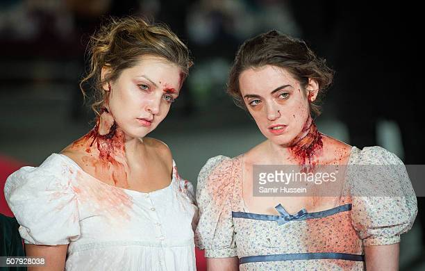 Actresses dressed as zombies attend the red carpet for the European premiere for 'Pride And Prejudice And Zombies' on at Vue West End on February 1...