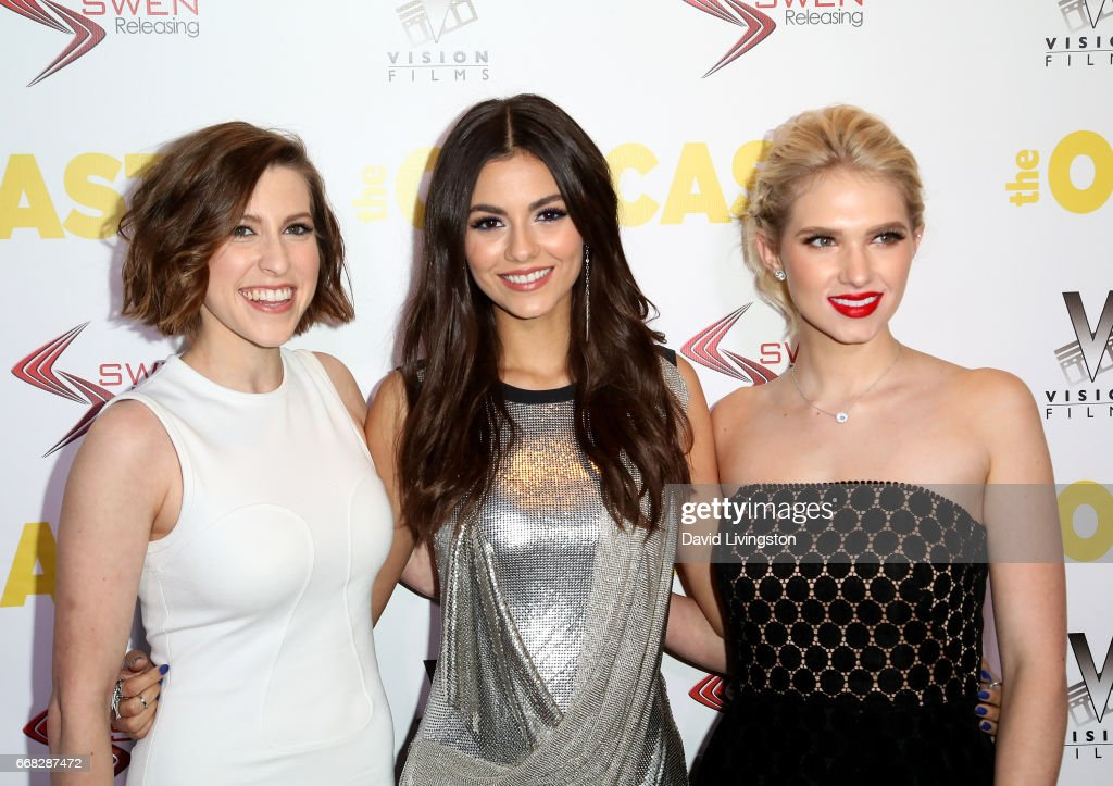 Actresses Eden Sher, Victoria Justice, and Claudia Lee attend the premiere of Swen Group's 'The Outcasts' at Landmark Regent on April 13, 2017 in Los Angeles, California.
