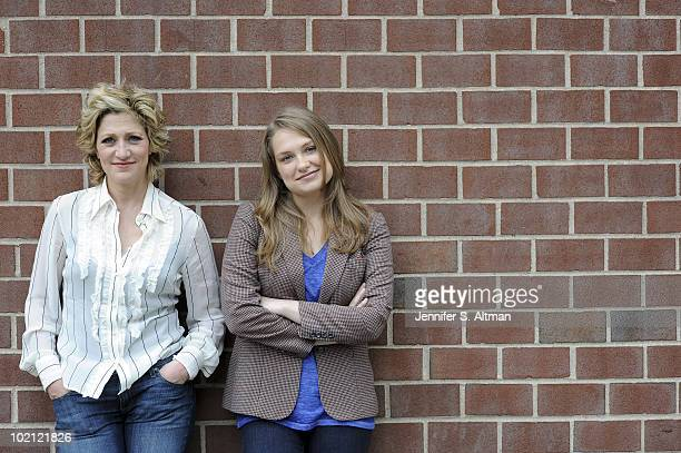 Actresses Edie Falco and Merritt Wever pose at a portrait session for the Los Angeles Times in New York NY on June 9 2010