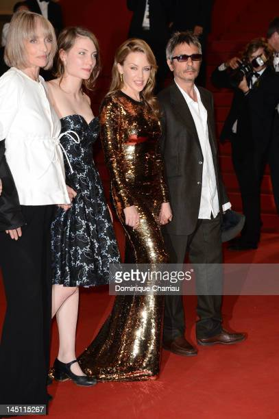 Actresses Edith Scob Elise Lhomeau Kylie Minogue and director Leos Carax attend the Holy Motors Premiere during the 65th Annual Cannes Film Festival...