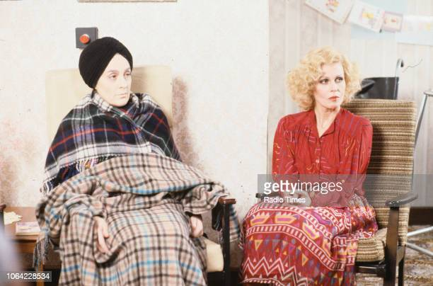 Actresses Eleanor Bron and Joanna Lumley in a scene from episode 'Magazine' of the BBC television sitcom 'Absolutely Fabulous' March 17th 1992
