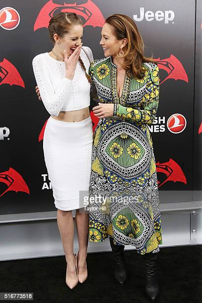 Actresses Eleanor Lambert and Diane Lane attend the Batman v Superman Dawn of Justice premiere at Radio City Music Hall on March 20 2016 in New York...