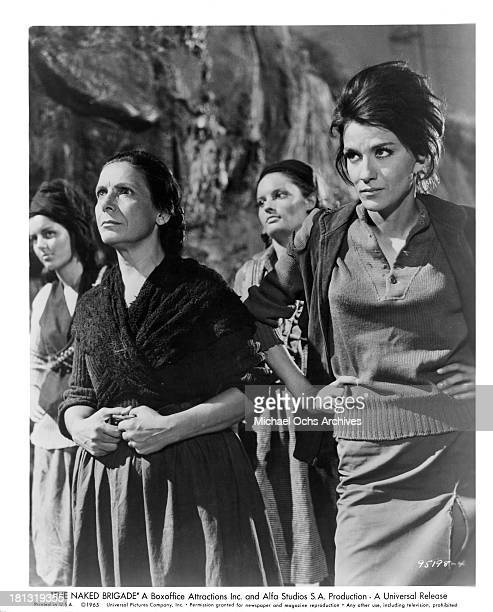 Actresses Eleni Zafeiriou and Mairi Hronopoulou on set of the Universal Pictures movie The Naked Brigade in 1965