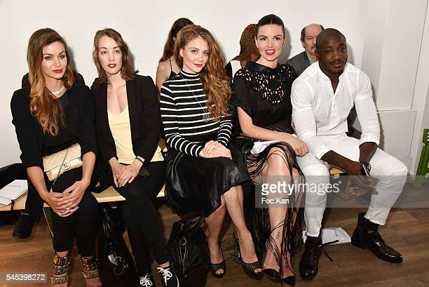 Actresses Elisa Bachir Bey Juliette Besson Cyrielle Joelle Julie Camara and rugbyman Djibril Camara attend the Dany Atrache Haute Couture Fall/Winter...