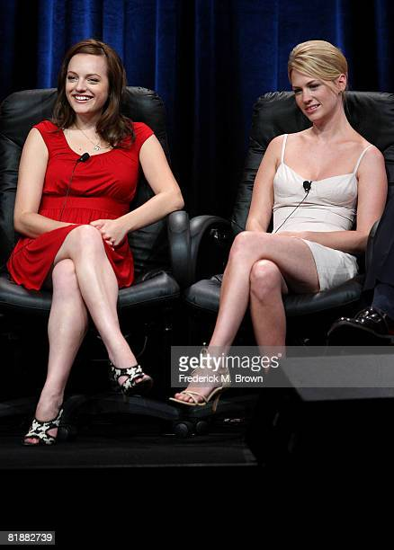 Actresses Elisabeth Moss and January Jones of Mad Men speaks during day two of the AMC Channel 2008 Summer Television Critics Association Press Tour...