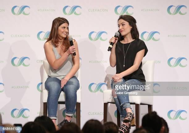 Actresses Elise Bauman and Natasha Negovanlis speak at the 'Hollstein Reunion' panel during ClexaCon 2017 convention at Bally's Las Vegas on March 5...