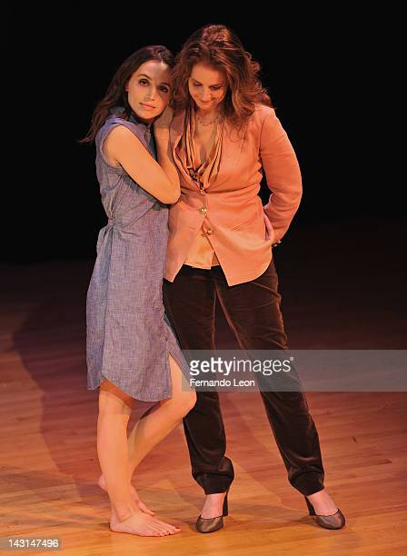 Actresses Eliza Dushku and Debra Winger pictured onstage during the Equality Now 20th Anniversary Fundraiser Event at Asia Society on April 19 2012...