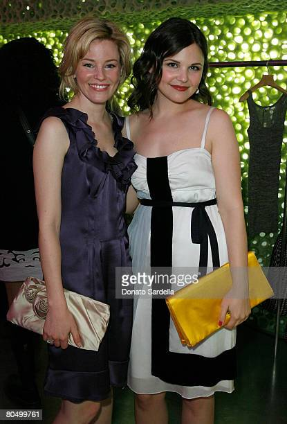 Actresses Elizabeth Banks and Ginnifer Goodwin wearing Prada attend the Los Angeles screening of Trembled Blossoms presented by Prada on March 19...