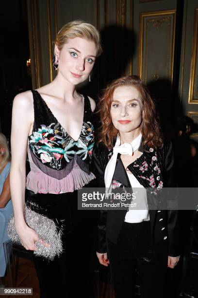 Actresses Elizabeth Debicki and Isabelle Huppert attend the Giorgio Armani Prive Haute Couture Fall Winter 2018/2019 show as part of Paris Fashion...
