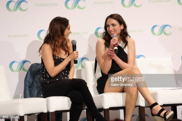 Actresses Elizabeth Hendrickson and Eden Riegel speak at the 'All My Children BAM Reunion' panel during the ClexaCon 2017 convention at Bally's Las...