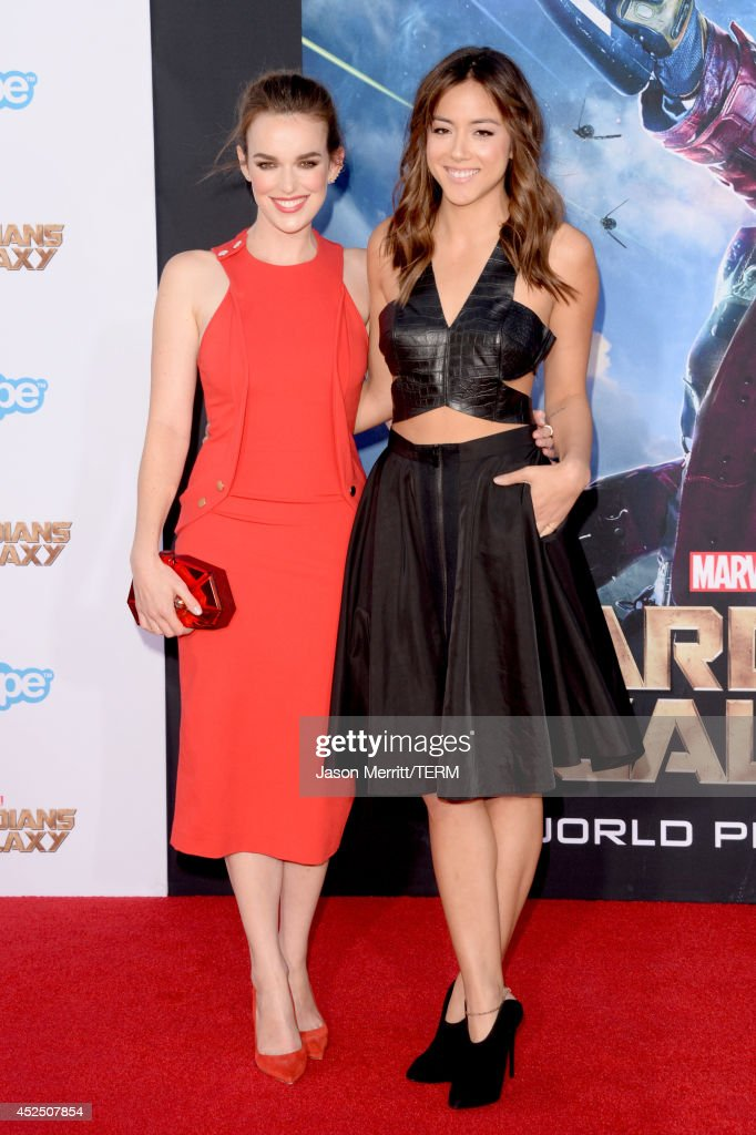 Actresses Elizabeth Henstridge (L) and Chloe Bennet attend the premiere of Marvel's 'Guardians Of The Galaxy' at the Dolby Theatre on July 21, 2014 in Hollywood, California.