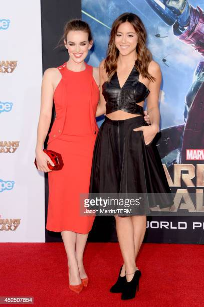 Actresses Elizabeth Henstridge and Chloe Bennet attend the premiere of Marvel's 'Guardians Of The Galaxy' at the Dolby Theatre on July 21 2014 in...