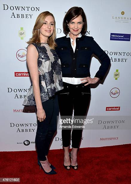 Actresses Elizabeth McGovern and Laura Carmichael arrive at the Afternoon With Downton Abbey Talent Panel at the Writers Guild Theater on June 6 2015...