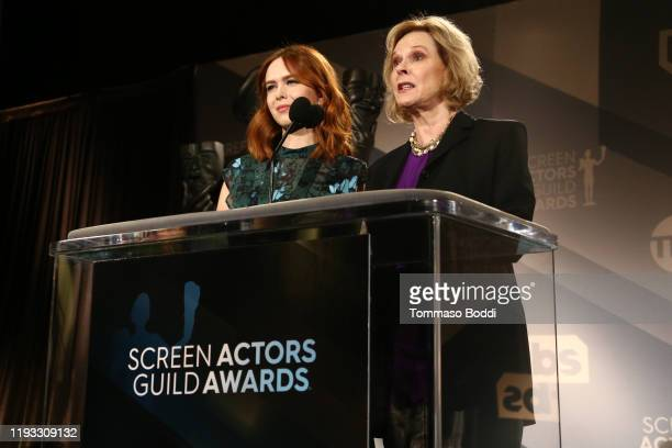 Actresses Elizabeth McLaughlin and JoBeth Williams speak at the 26th Annual Screen Actors Guild Awards Nominations Announcement at Pacific Design...