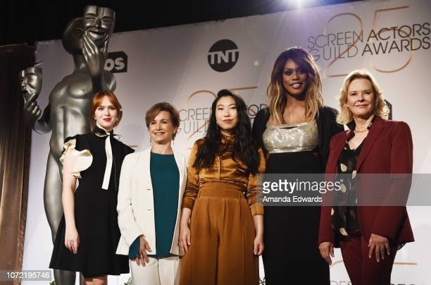 Actresses Elizabeth McLaughlin Gabrielle Carteris Awkwafina Laverne Cox and JoBeth Williams attend the 25th Annual Screen Actors Guild Awards...