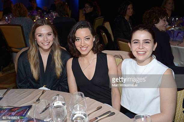Actresses Elizabeth Olsen Aubrey Plaza and Mae Whitman attend Equality Now's third annual 'Make Equality Reality' Gala on December 5 2016 in Beverly...