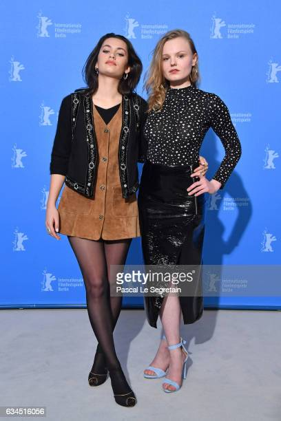 Actresses Ella Rumpf and Maria Dragus attend the 'Tiger Girl' photo call during the 67th Berlinale International Film Festival Berlin at Grand Hyatt...