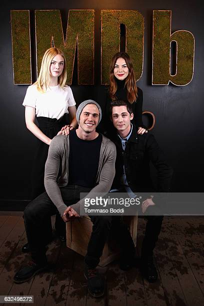 Actresses Elle Fanning and Michelle Monaghan actor Blake Jenner and actor/executive producer Logan Lerman of 'Sidney Hall' attend The IMDb Studio...