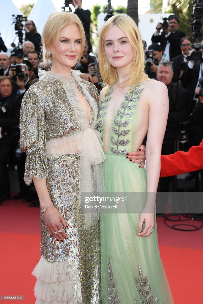Actresses Elle Fanning (R) and Nicole Kidman attend the 'How To Talk To Girls At Parties' screening during the 70th annual Cannes Film Festival at Palais des Festivals on May 21, 2017 in Cannes, France.