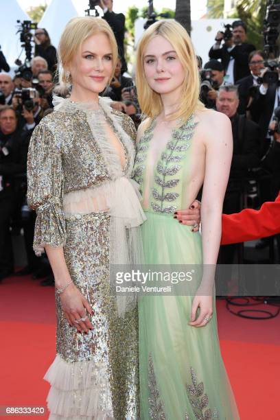 Actresses Elle Fanning and Nicole Kidman attend the 'How To Talk To Girls At Parties' screening during the 70th annual Cannes Film Festival at Palais...