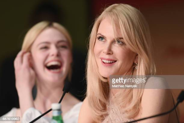 Actresses Elle Fanning and Nicole Kidman attend the 'The Beguiled' press conference during the 70th annual Cannes Film Festival at Palais des...