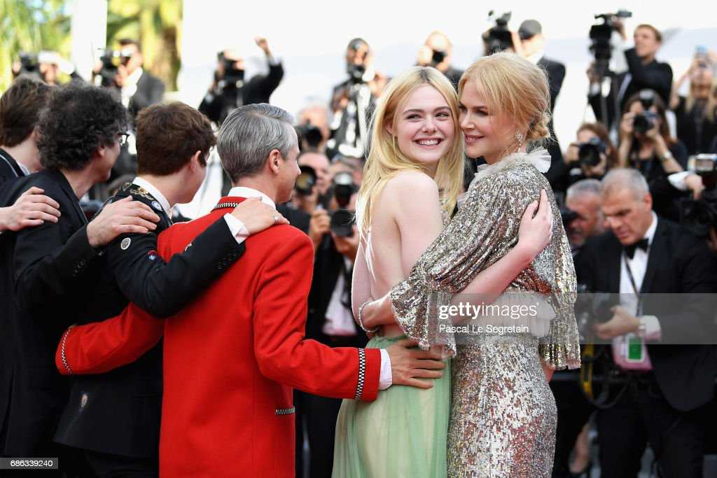Actresses Elle Fanning and Nicole Kidman depart after the 'How To Talk To Girls At Parties' screening during the 70th annual Cannes Film Festival at Palais des Festivals on May 21, 2017 in Cannes, France.